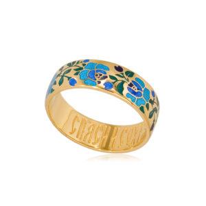 6 25 2z  1 300x300 - Кольцо из серебра «Розы» (золочение), синее