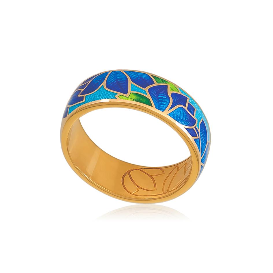 6 27 2z 1 1 - Кольцо из серебра «Клематис» (золочение), сине-голубое