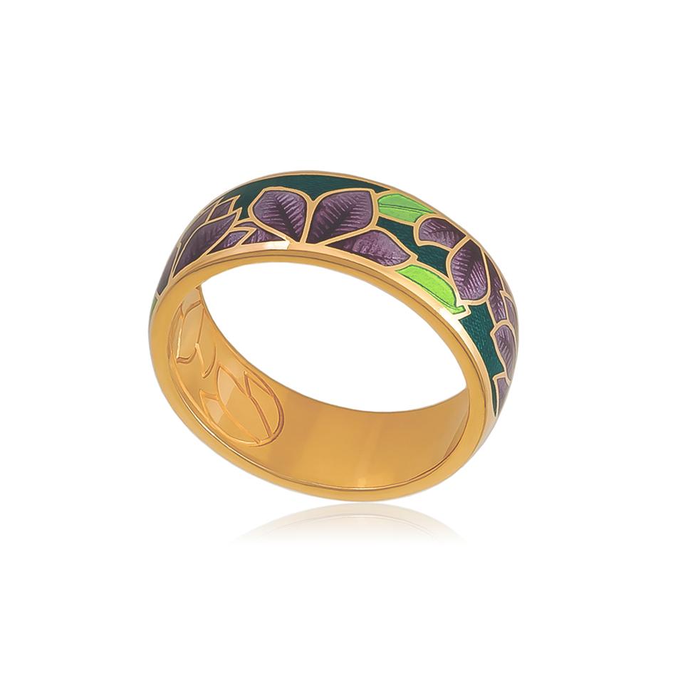 6 27 3z 1 1 - Кольцо из серебра «Клематис» (золочение), фиолетово-зеленое