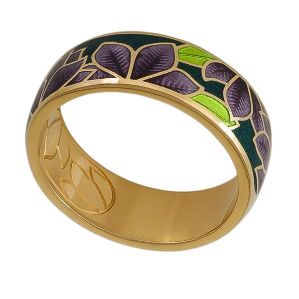 6 27 3z 600x600 - Кольцо «Клематис» (золочение), фиолетово-зеленая