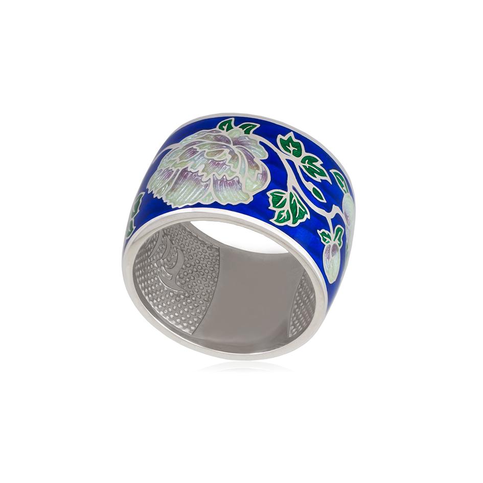 6 29 1s 2 - Кольцо из серебра из серии Веера «Пион», синяя
