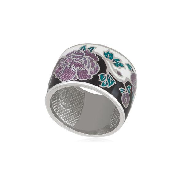 6 29 3s 1 600x600 - Кольцо серебро из серии Веера «Пион», черно-белое
