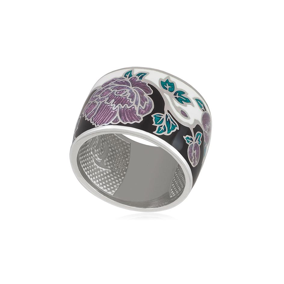 6 29 3s 1 - Кольцо серебро из серии Веера «Пион», черно-белое