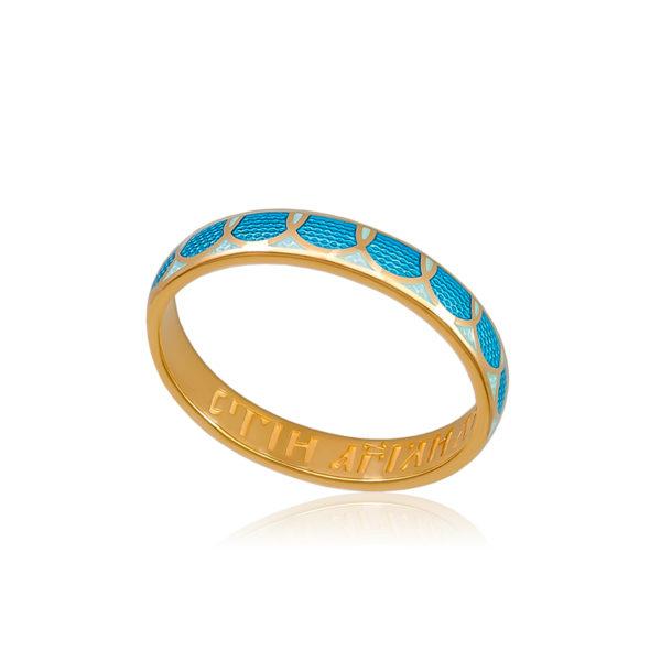 6 31 1z 1 600x600 - Кольцо серебряное «Седмица» (золочение), голубое