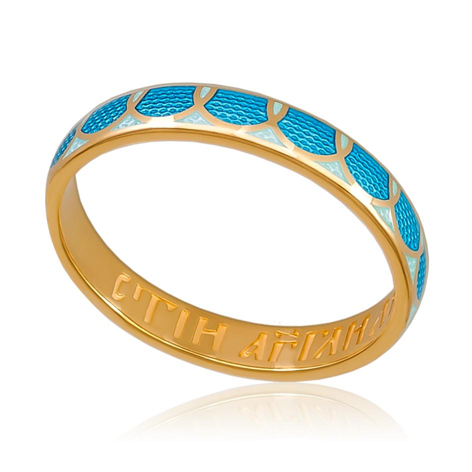 6 31 1z - Кольцо «Седмица» (золочение), голубое