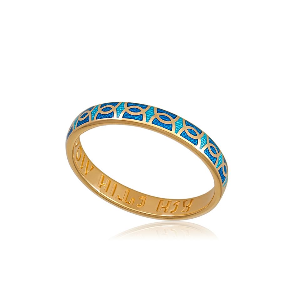 6 33 2z 1 - Кольцо серебряное «Седмица» (золочение), голубая