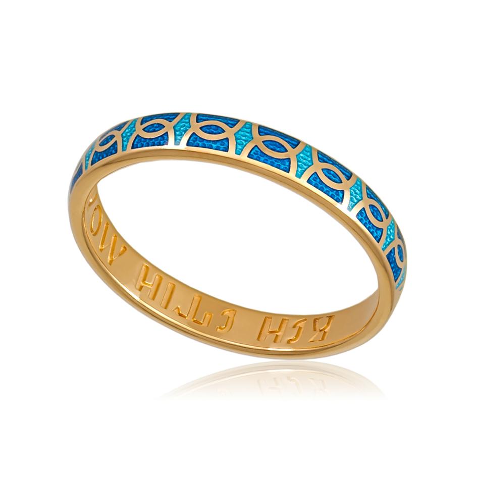 6 33 2z - Кольцо «Седмица» (золочение), голубая