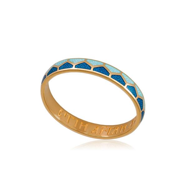 6 36 1z 1 600x600 - Кольцо из серебра «Седмица» (золочение), голубое