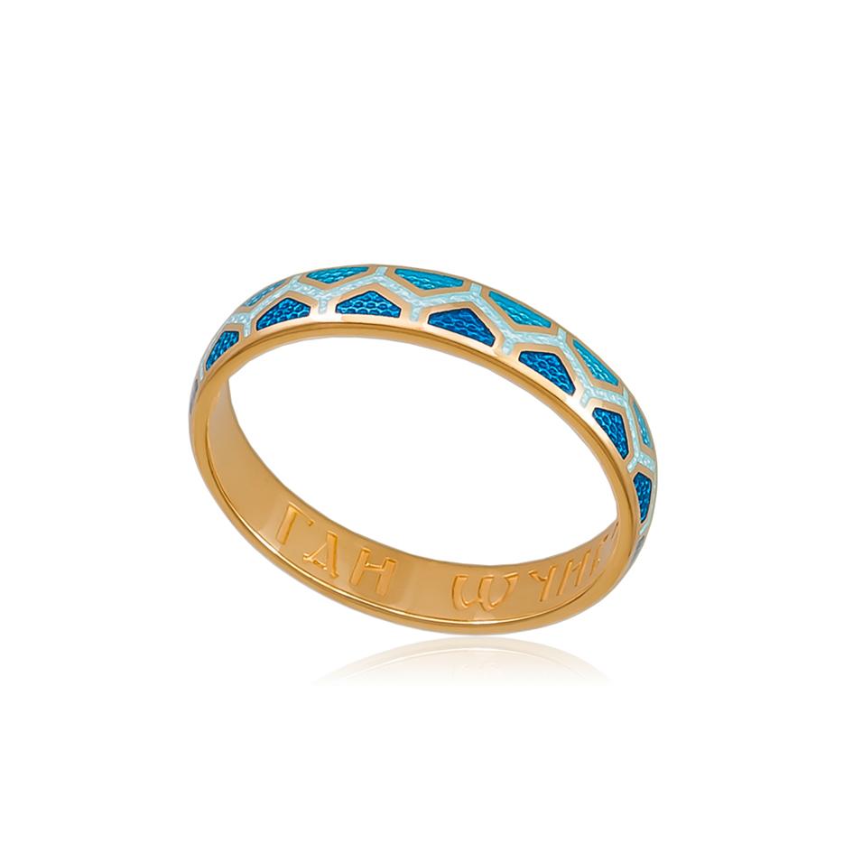 6 37 1z 1 - Кольцо серебряное «Седмица» (золочение), голубое