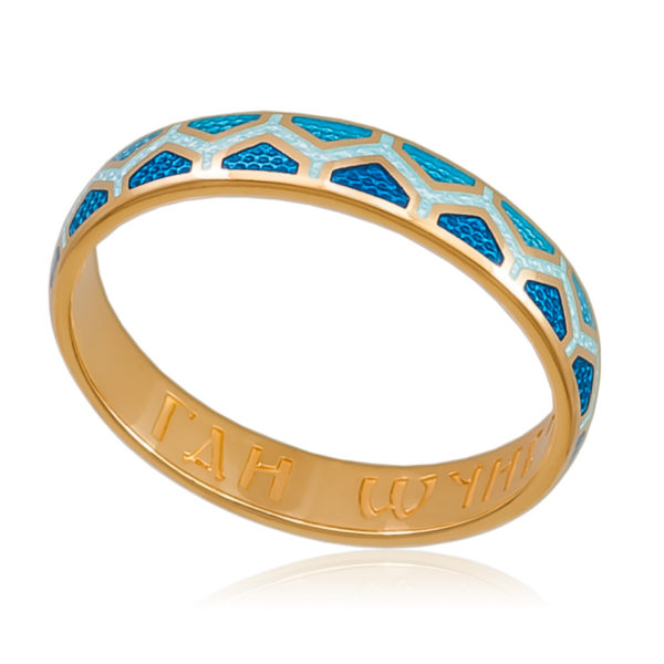 6 37 1z 600x600 - Кольцо «Седмица» (золочение), голубое