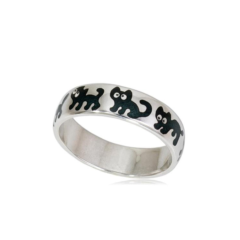 6 45 2s 1 - Кольцо из серебра «Забавные котята», черное