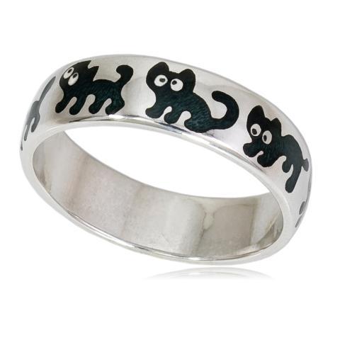 6 45 2s - Кольцо «Забавные котята», черная
