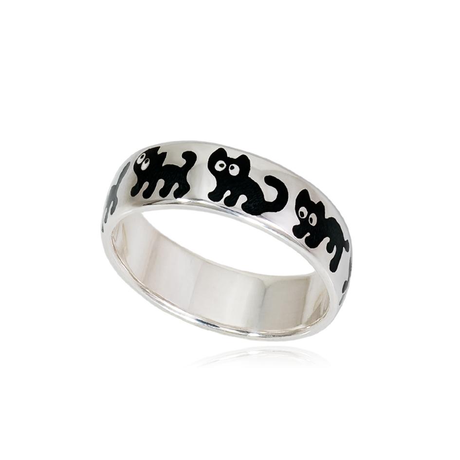 6 45s 1 - Кольцо из серебра «Забавные котята», черное