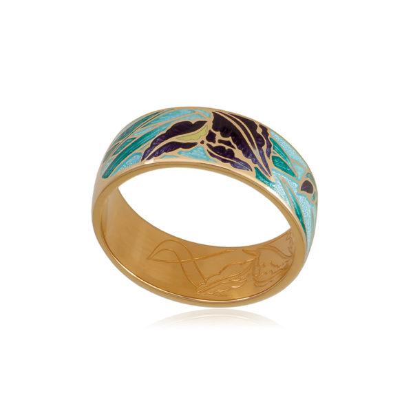 6 46 1z 1 1 600x600 - Кольцо из серебра «Ирисы» (золочение), морская волна
