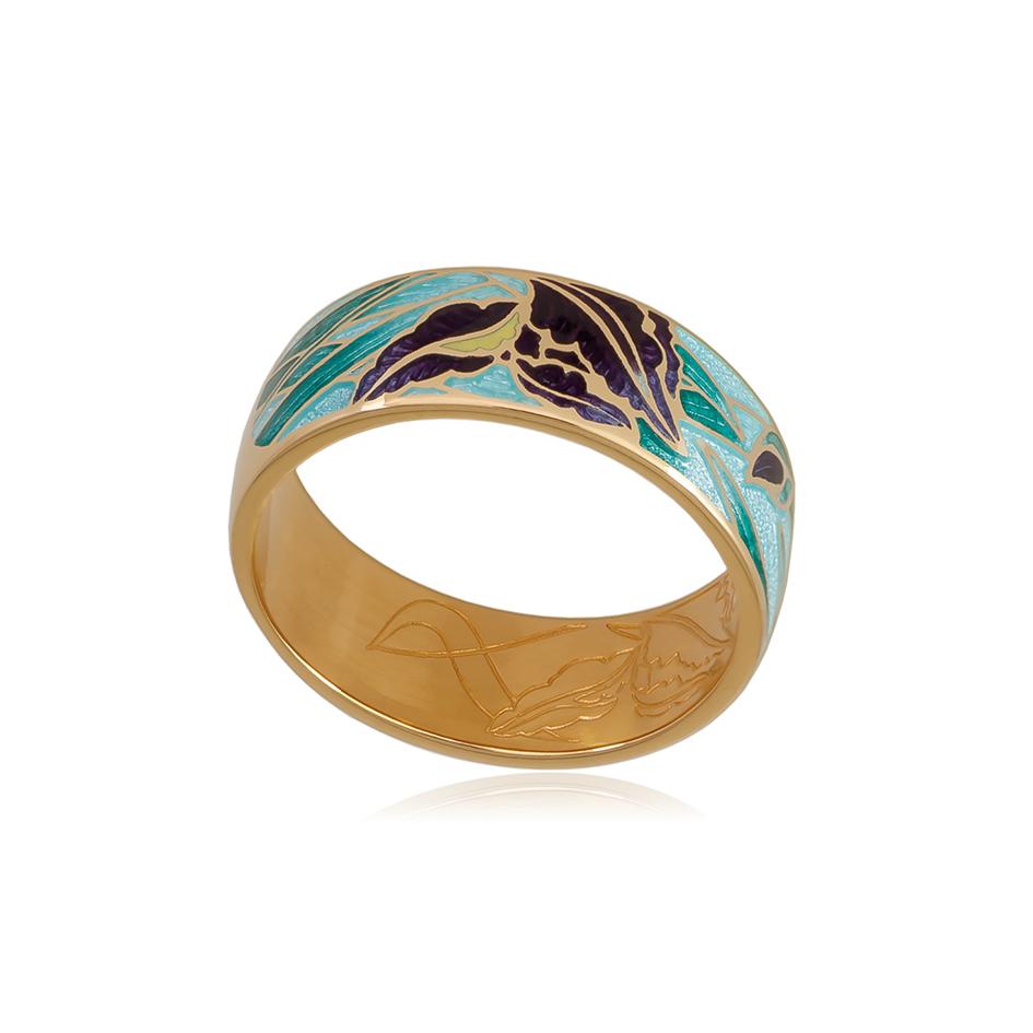 6 46 1z 1 1 - Кольцо из серебра «Ирисы» (золочение), морская волна