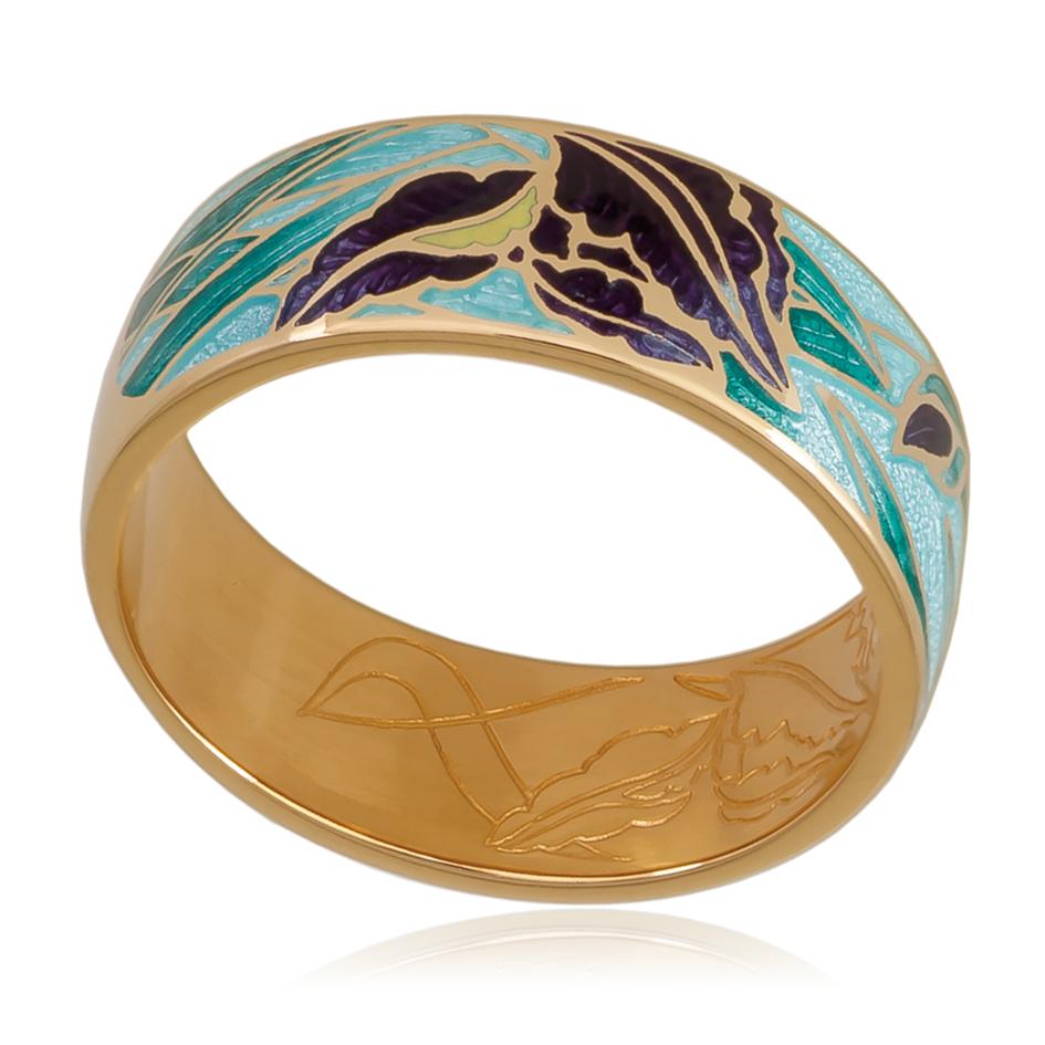 6 46 1z 1 - Кольцо «Ирисы» (золочение), морская волна