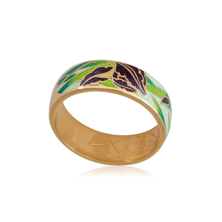 6 46 2z 1 - Кольцо из серебра «Ирисы» (золочение), зеленое