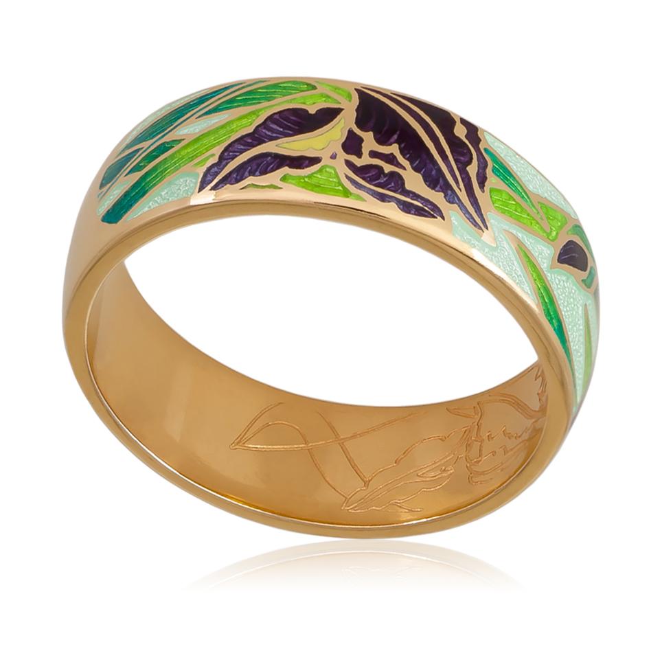 6 46 2z - Кольцо «Ирисы» (золочение), зеленое