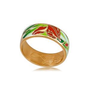6 46 4z  1 300x300 - Кольцо из серебра «Ирисы» (золочение), красное