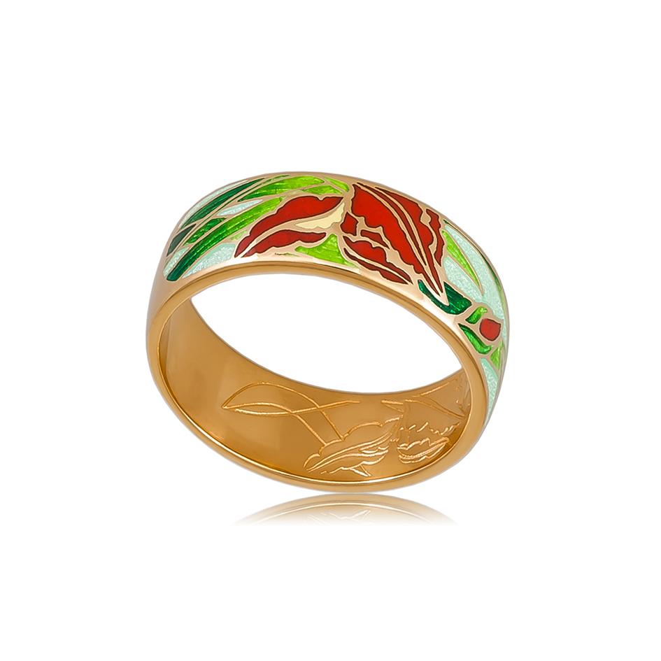 6 46 4z  1 - Кольцо из серебра «Ирисы» (золочение), красное