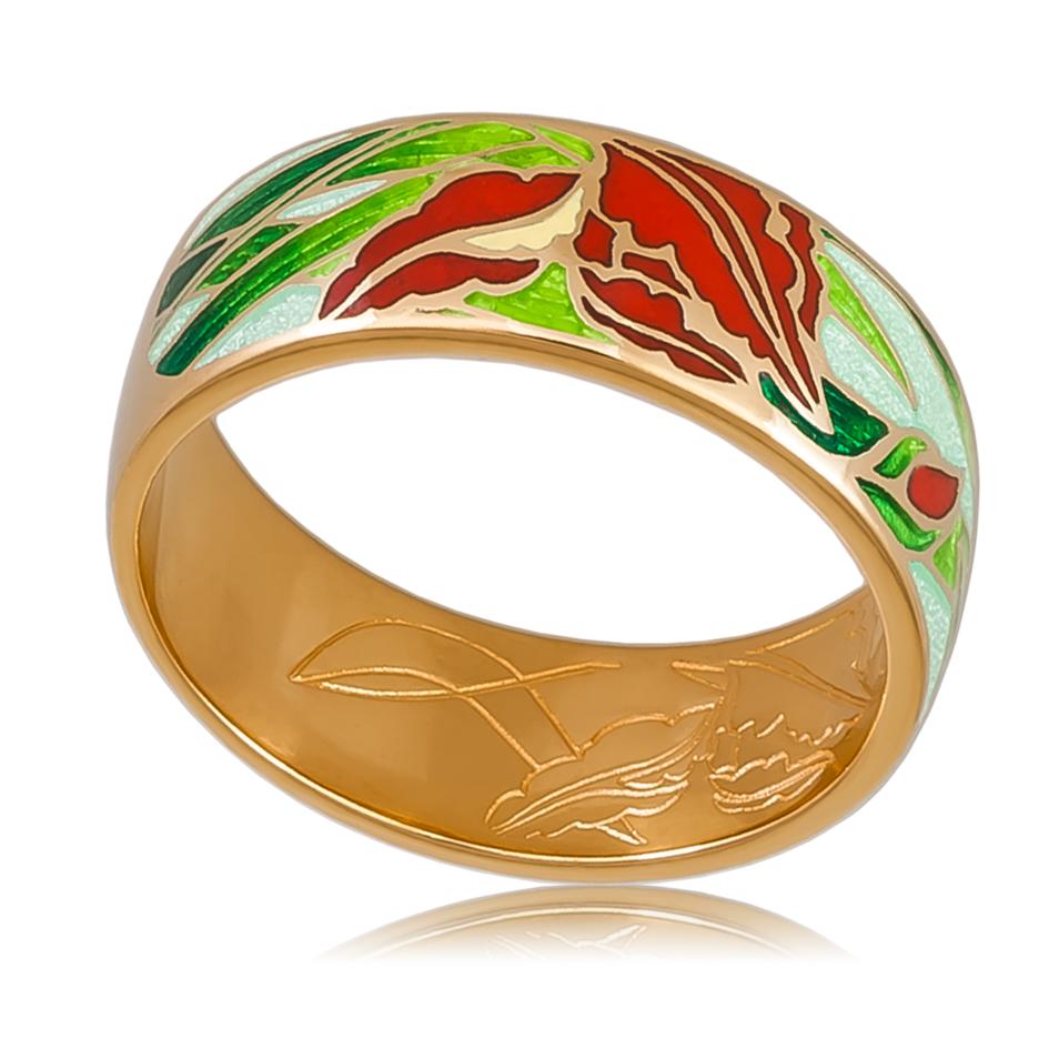 6 46 4z  - Кольцо «Ирисы» (золочение), красное
