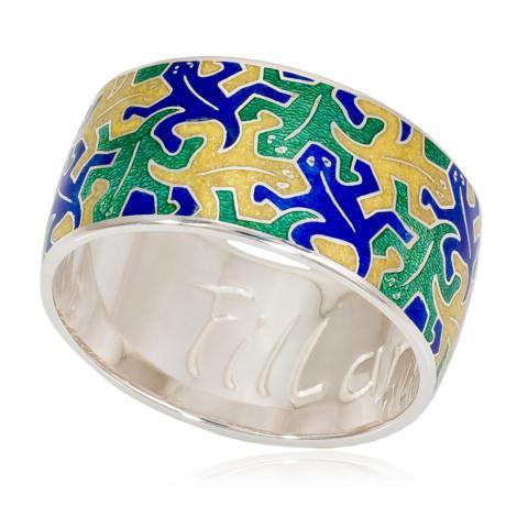 6 48 1 - Кольцо «Саламандра», сине-зеленая