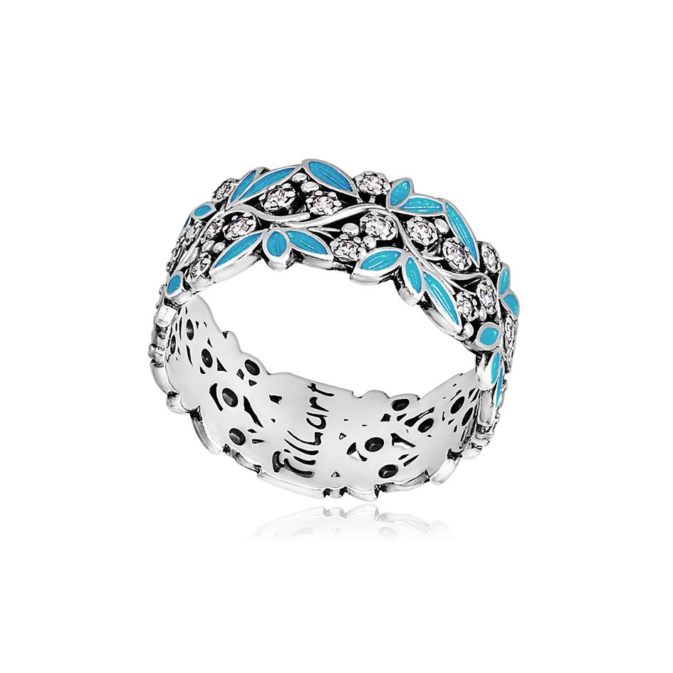 6 53 3s 1 1 - Кольцо из серебра «Росинка», голубое с фианитами