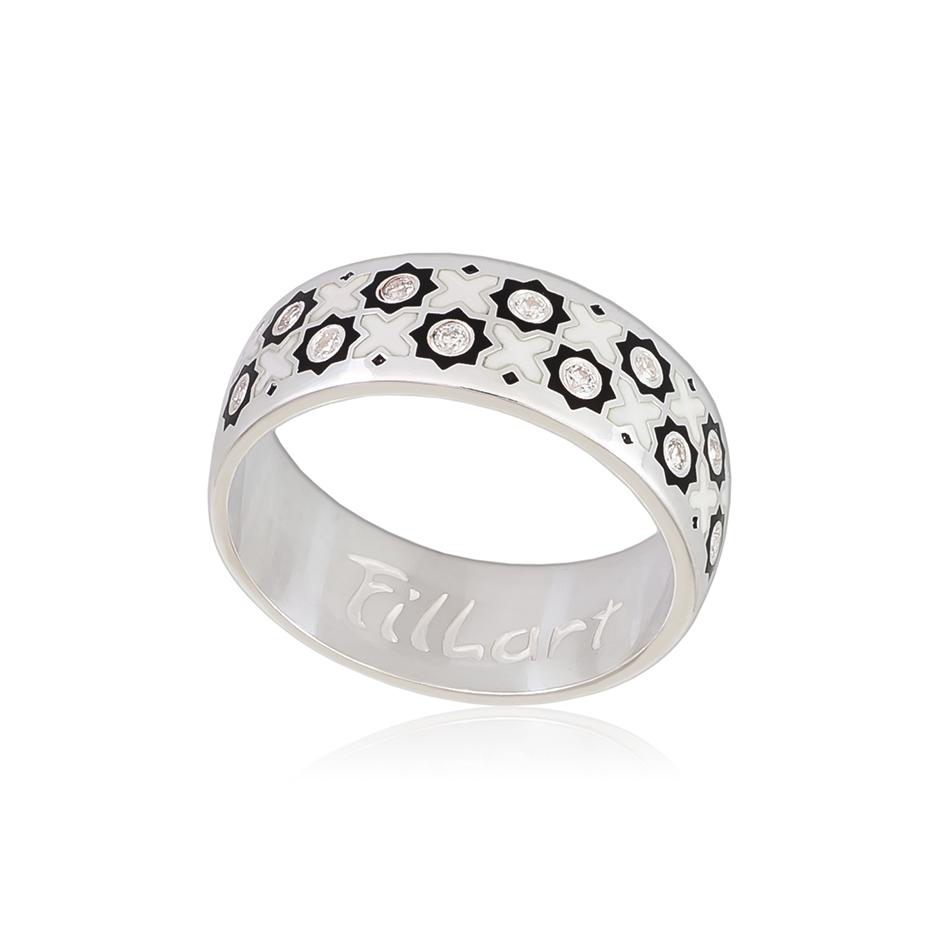 6 54 1s 1 - Кольцо из серебра «Восточное», черно-белое с фианитами