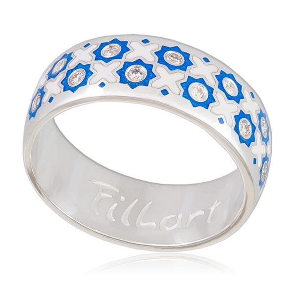 Кольцо «Восточное», сине-белая