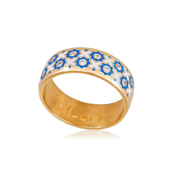 6 54 2z 1 600x600 - Кольцо «Восточное» (золочение), сине-белое с фианитами
