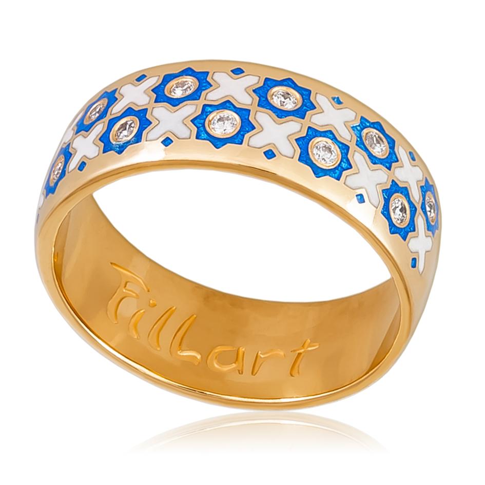 6 54 2z - Кольцо «Восточное» (золочение), сине-белая