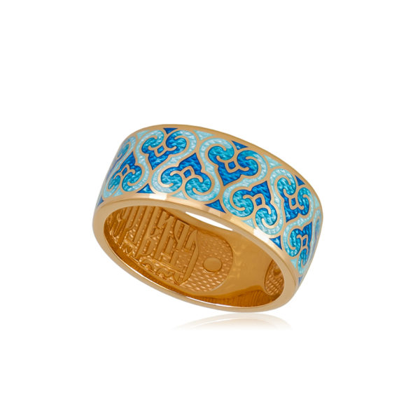 6 55 1z 1 600x600 - Кольцо из серебра «Молитва ангелу» (золочение), синее