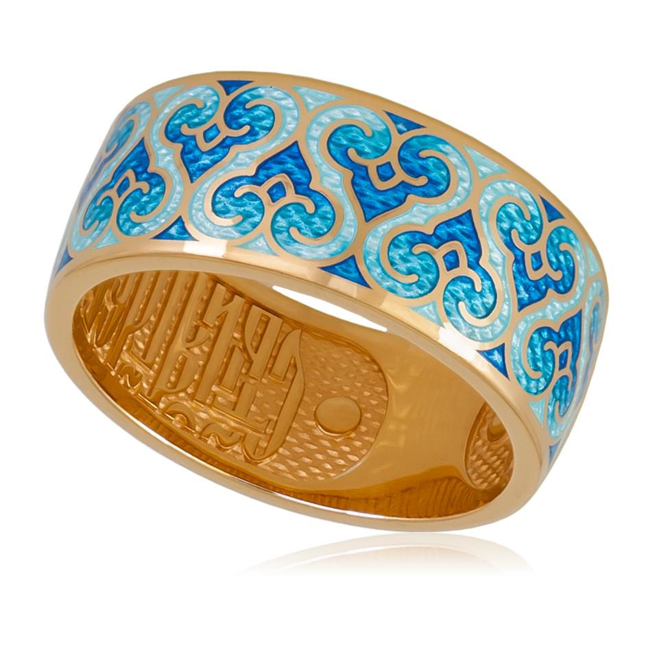 6 55 1z - Кольцо «Молитва ангелу» (золочение), синее