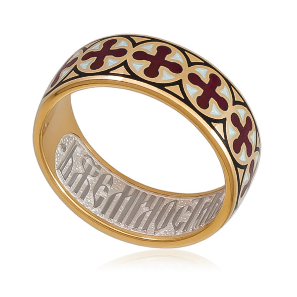 Кольцо «Византийское» (золочение), красная