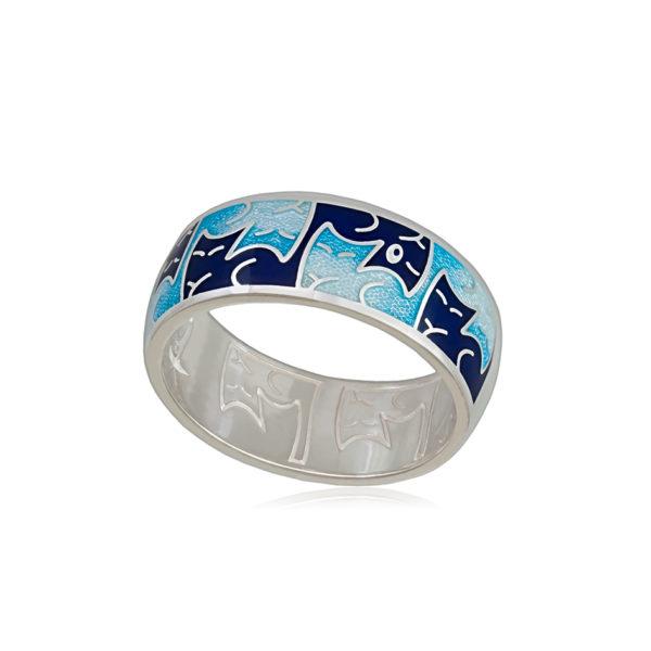 6 59 1s 1 600x600 - Кольцо из серебра «Котики Инь-Ян», синее