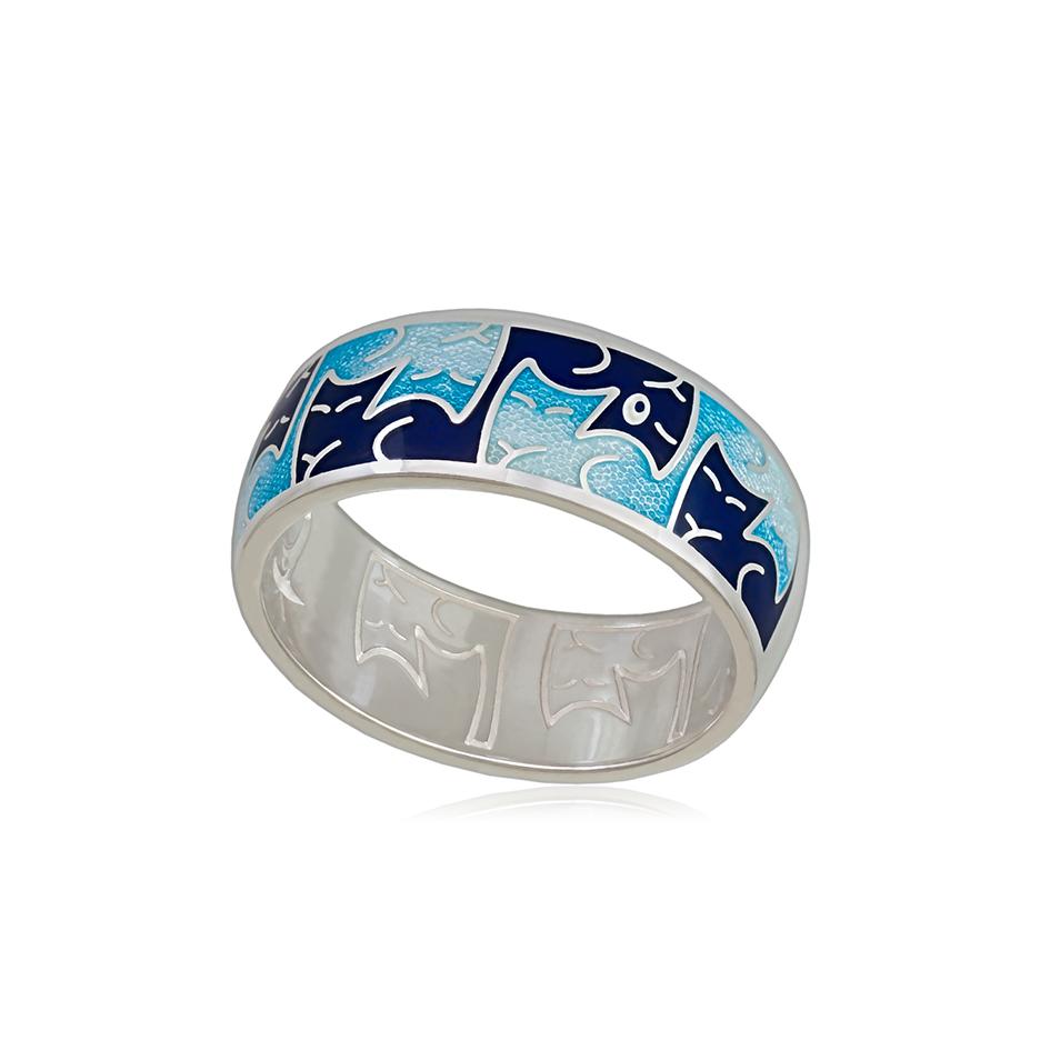 6 59 1s 1 - Кольцо из серебра «Котики Инь-Ян», синее