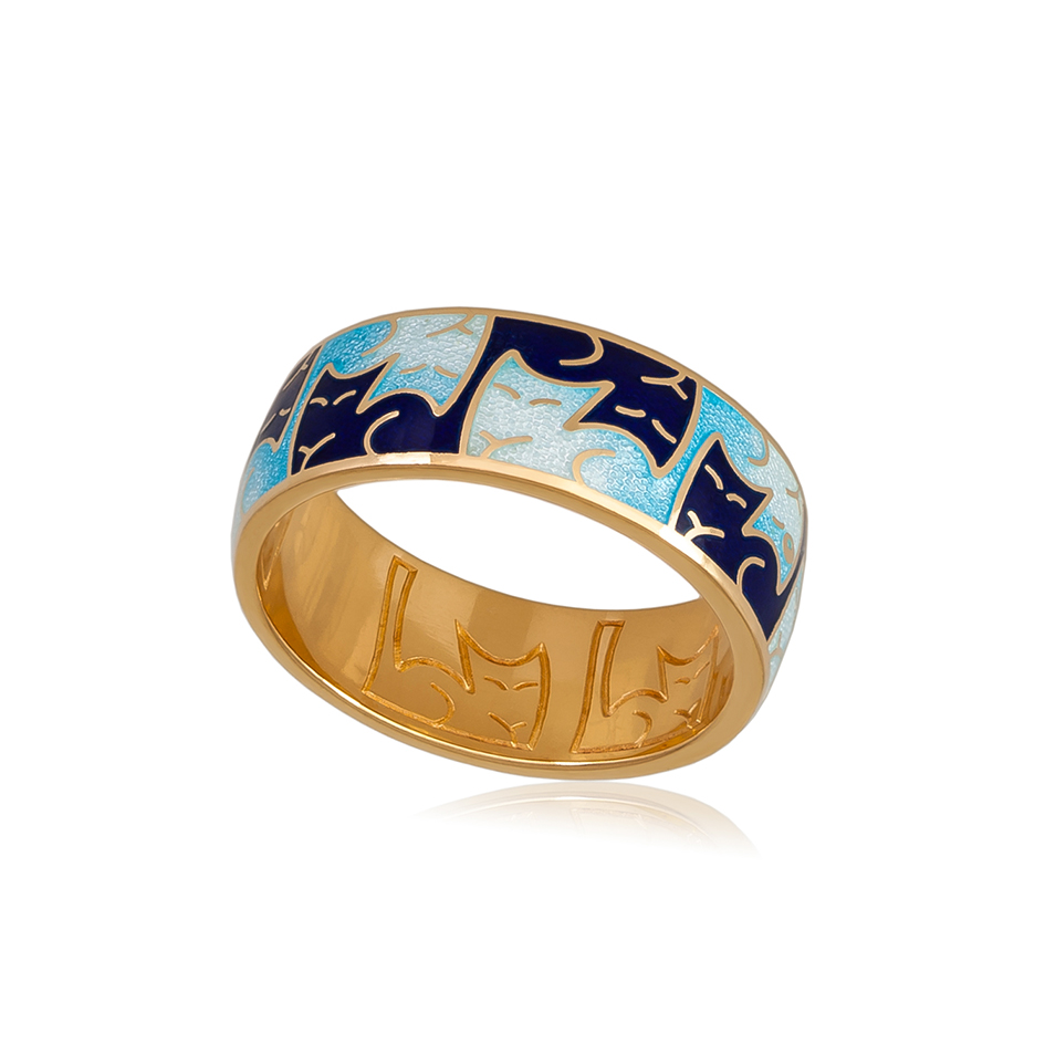 6 59 1z 1 - Кольцо из серебра «Котики Инь-Ян» (золочение), синее