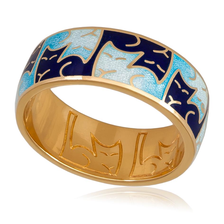 6 59 1z - Кольцо «Котики Инь-Ян» (золочение), синяя