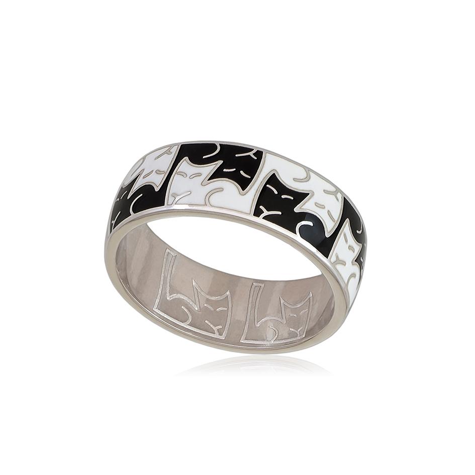 6 59 2s 1 - Кольцо из серебра «Котики Инь-Ян», черно-белое