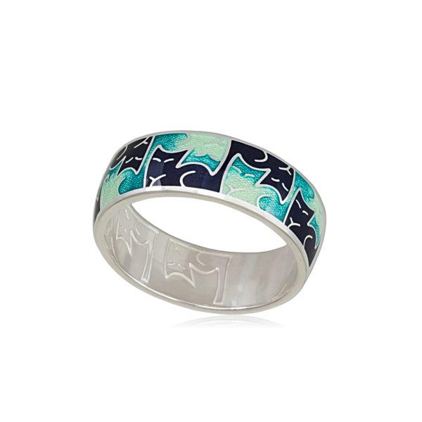 6 59 4s 1 600x600 - Кольцо из серебра «Котики Инь-Ян», зеленая