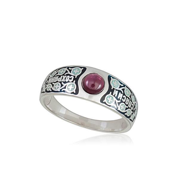 6 60 1s 1 1 600x600 - Перстень серебряный «Спаси и сохрани», черная
