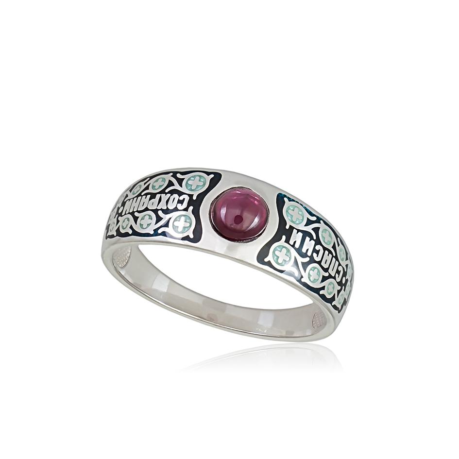 6 60 1s 1 1 - Перстень серебряный «Спаси и сохрани», черная