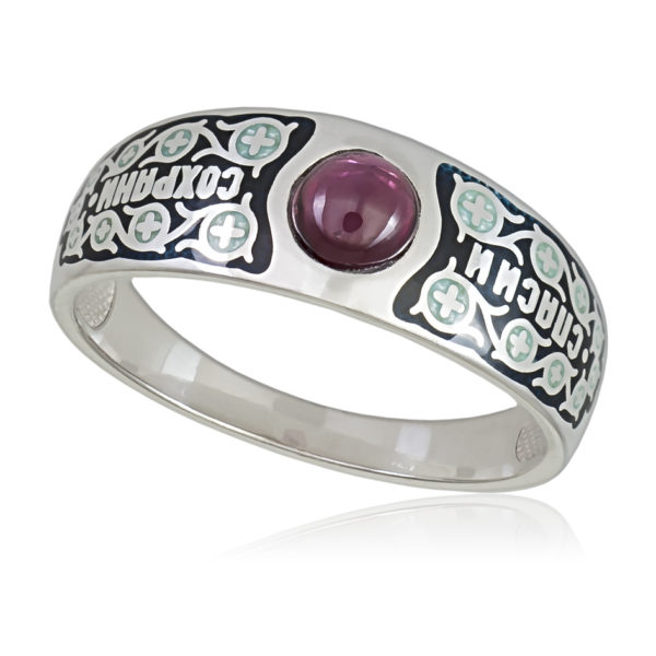 Перстень «Спаси и сохрани», черная