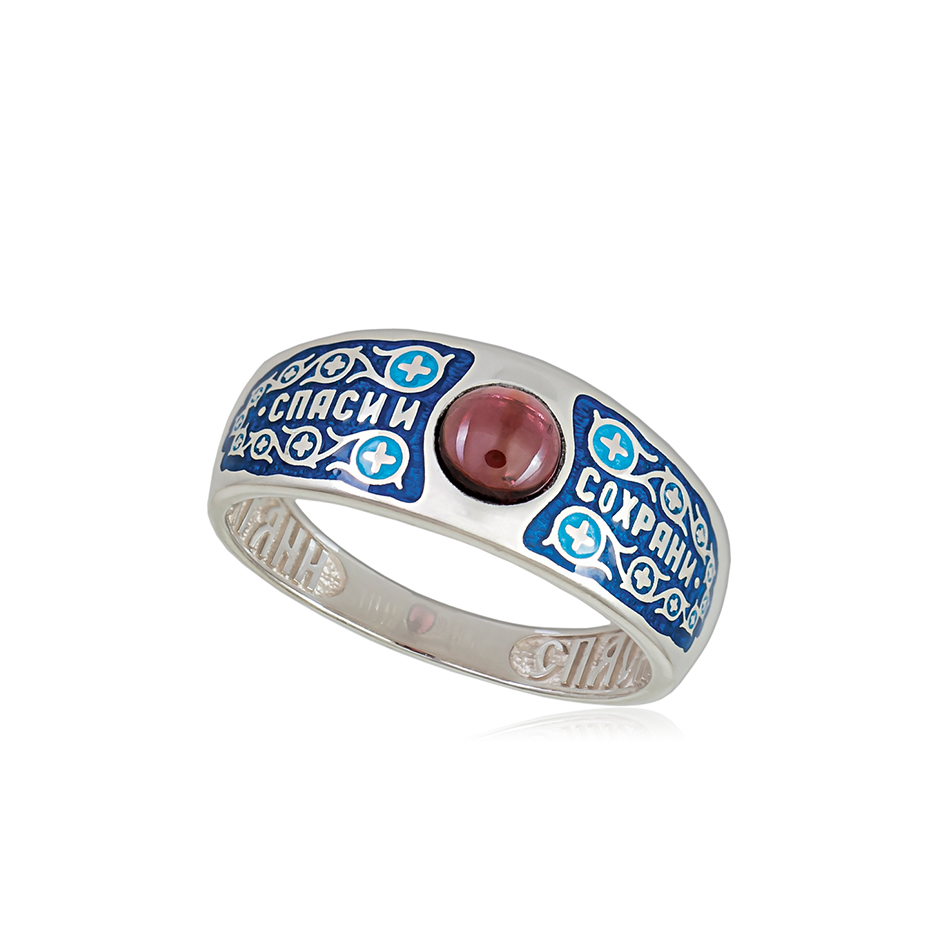 6 60 1s 2 - Перстень серебряный «Спаси и сохрани», синяя