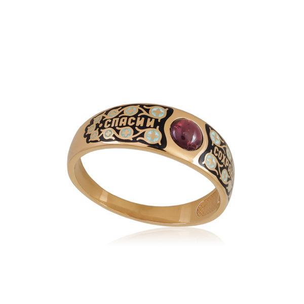 6 60 1z 1 1 600x600 - Перстень  серебряный «Спаси и сохрани» (золочение), черное