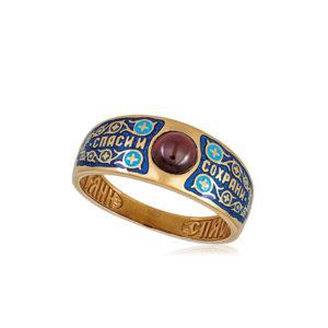 6 60 1z 2 300x300 - Перстень «Спаси и сохрани» (золочение), синяя