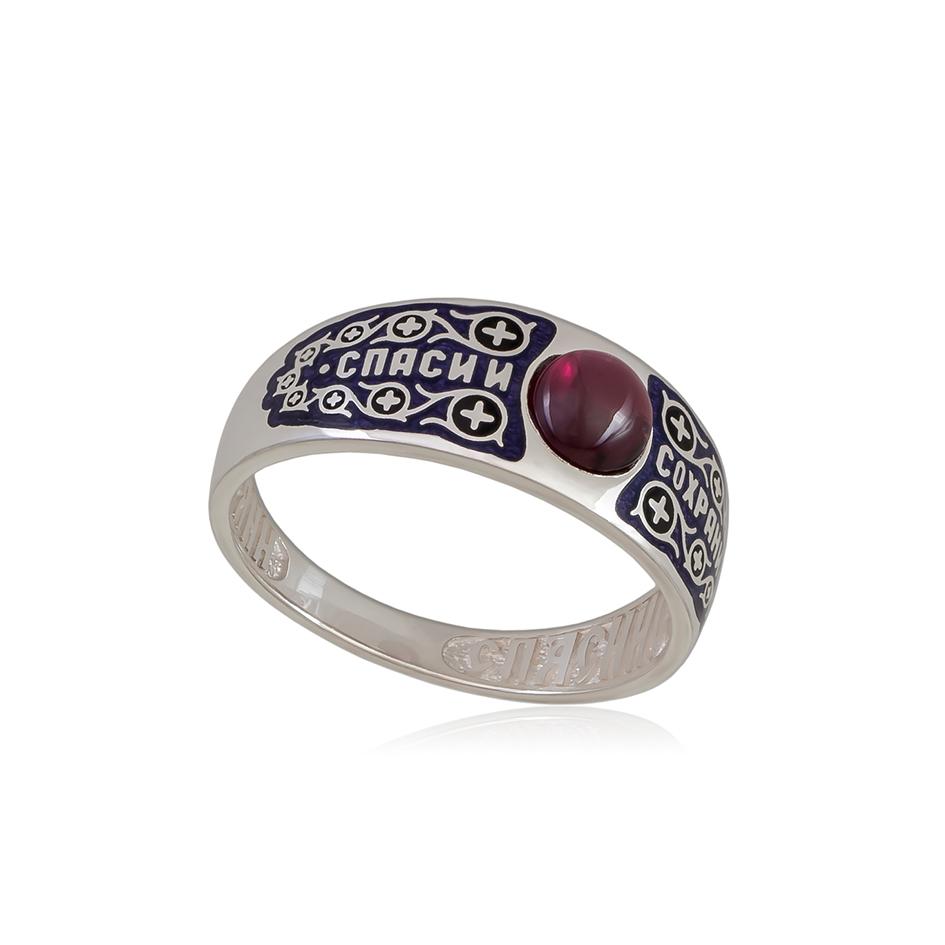 6 60 3s 1 - Перстень  серебряный «Спаси и сохрани», фиолетовая