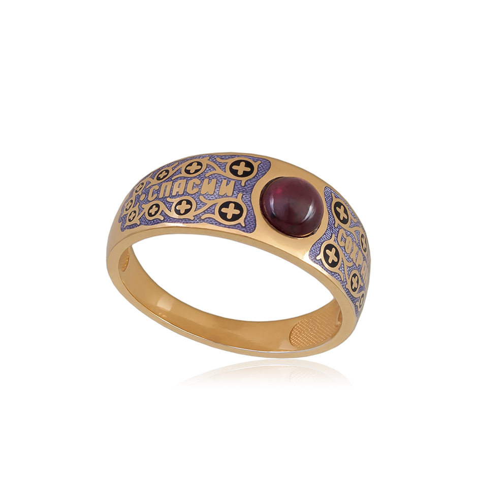 6 60 3z 1 - Перстень серебряный «Спаси и сохрани» (золочение), фиолетовая