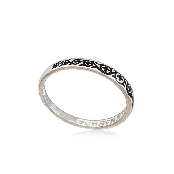 6 61 1s 2 600x600 - Кольцо из серебра «Молитва мытаря», черная