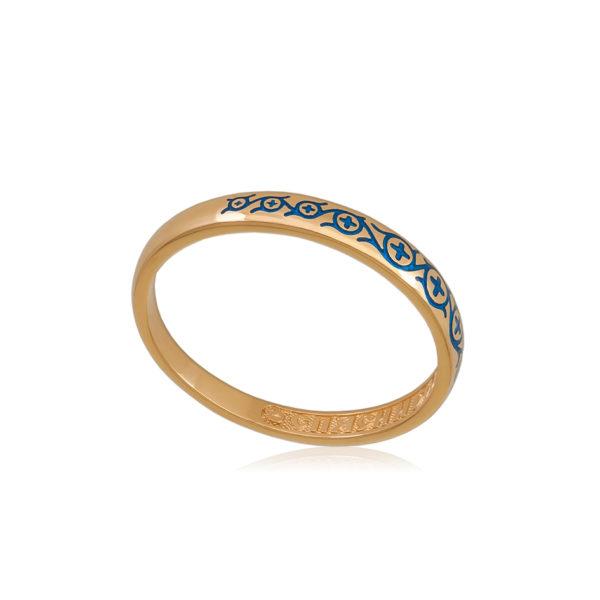 6 61 2z 1 600x600 - Кольцо из серебра «Молитва мытаря» (золочение), синее